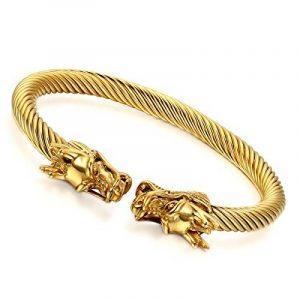 cupimatch pour homme Ton Or Luxe Bracelet jonc en acier inoxydable double dragon élastique Câble torsadé 23cm de la marque Cupimatch image 0 produit