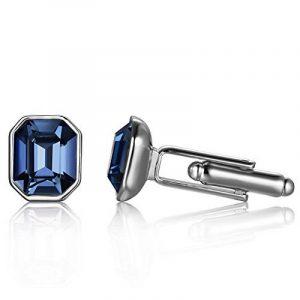 Depot Tresor Boutons de manchette pour homme avec élément de cristal de Swarovski Deep-Sapphire de la marque Depot Tresor image 0 produit