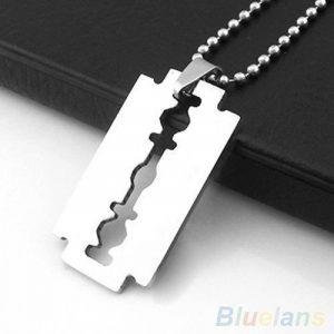 Design razor-blade Argent Pendentif Collier Chaîne Pendentif pour hommes cadeau idéal de la marque Shihan image 0 produit