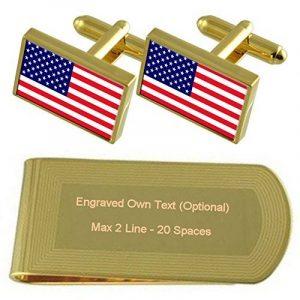 Drapeau Amérique Gold-tone de manchette argent gravé Collier Cadeau de la marque Select Gifts image 0 produit