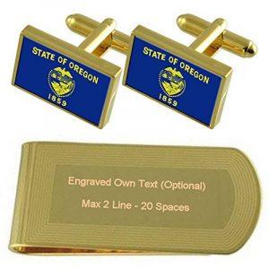 Drapeau de l'Oregon Gold-tone de manchette argent gravé Collier Cadeau de la marque Select Gifts image 0 produit
