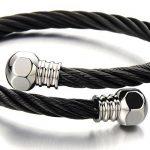 élastique Réglable - Minimaliste - Noir Bracelet en Acier Inoxydable Pour Hommes - Bracelet Manchette Câble Torsadé de la marque H+C image 2 produit