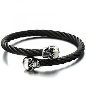 élastique Réglable - Unique Noir Bracelet Crâne Homme d'acier inoxydable - Bracelet Manchette Câble Torsadé de la marque H+C image 0 produit