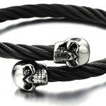 élastique Réglable - Unique Noir Bracelet Crâne Homme d'acier inoxydable - Bracelet Manchette Câble Torsadé de la marque H+C image 2 produit