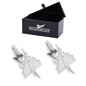 En acier inoxydable pour hommes Argent avion de chasse avion Boutons de manchette Boîte-cadeau de luxe inclus de la marque The Cufflink Shop image 0 produit