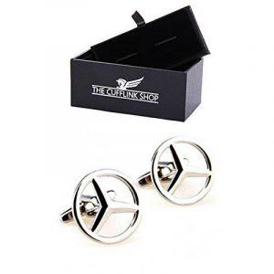 En acier inoxydable pour hommes Argent Mercedes logo de voiture Boutons de manchette Boîte-cadeau de luxe inclus de la marque The Cufflink Shop image 0 produit
