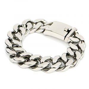 Felix Perry hommes de gros maillons de chaîne bracelet en acier inoxydable couleur Argent poli 22,5cm de la marque Felix Perry image 0 produit