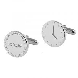Groom Wedding Cufflinks~gravé horloge temps réel liens Brassard~personnalisée en zone de message de la marque Select Gifts image 0 produit