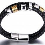 """Halukakah «HONNEUR» :Le Bracelet de l'homme en Cuir Véritable avec les Bouttons Dorés & Argents ,8.46 """"/ (21.5 cm ) avec le Boîte-cadeau GRATUIT de la marque Halukakah image 4 produit"""