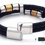 """Halukakah «HONNEUR» :Le Bracelet de l'homme en Cuir Véritable avec les Bouttons Dorés & Argents ,8.46 """"/ (21.5 cm ) avec le Boîte-cadeau GRATUIT de la marque Halukakah image 5 produit"""