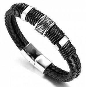 """Halukakah «HONNEUR»:Le Bracelet de l'homme en Cuir Véritable Noire & Doré ,8.46 """"/ (21 .5cm )avec le Boîte-cadeau Gratuit de la marque Halukakah image 0 produit"""