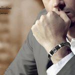 """Halukakah «HONNEUR»:Le Bracelet de l'homme en Cuir Véritable Noire & Doré ,8.46 """"/ (21 .5cm )avec le Boîte-cadeau Gratuit de la marque Halukakah image 2 produit"""