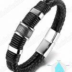 """Halukakah «HONNEUR»:Le Bracelet de l'homme en Cuir Véritable Noire & Doré ,8.46 """"/ (21 .5cm )avec le Boîte-cadeau Gratuit de la marque Halukakah image 3 produit"""