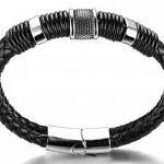 """Halukakah «HONNEUR»:Le Bracelet de l'homme en Cuir Véritable Noire & Doré ,8.46 """"/ (21 .5cm )avec le Boîte-cadeau Gratuit de la marque Halukakah image 4 produit"""
