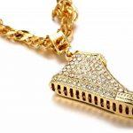 """Halukakah «MOONWALK»:18k Réel Plaqué Or Chaussure Pendentif Collier pour Homme avec Chaîne Cubain GRATUIT 30"""" de la marque Halukakah image 4 produit"""