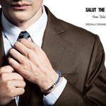 """Halukakah «SALUT LA TERRE» :Le Bracelet de l'homme en Cuir Véritable avec les Perles de Pierre Naturelle,Fermoir Magnétique Intelligent,8.07""""/ (21cm ) avec le Boîte-cadeau Gratuit de la marque Halukakah image 2 produit"""