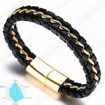 """Halukakah «SOLO»:Le Bracelet de l'homme en Cuir Véritable Noire/Argent/Or ,8.46 """"/ (21 .5cm ) avec le Boîte-cadeau GRATUIT de la marque Halukakah image 3 produit"""