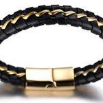 """Halukakah «SOLO»:Le Bracelet de l'homme en Cuir Véritable Noire/Argent/Or ,8.46 """"/ (21 .5cm ) avec le Boîte-cadeau GRATUIT de la marque Halukakah image 4 produit"""