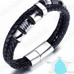 """Halukakah «SOLO»:Le Bracelet de l'homme en Cuir Véritable avec les Bouttons Argents Magnétiques en Titane ,8,46 """"(21 .5cm) avec le Boîte-cadeau GRATUIT de la marque Halukakah image 3 produit"""