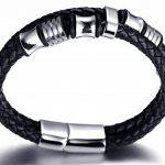 """Halukakah «SOLO»:Le Bracelet de l'homme en Cuir Véritable avec les Bouttons Argents Magnétiques en Titane ,8,46 """"(21 .5cm) avec le Boîte-cadeau GRATUIT de la marque Halukakah image 4 produit"""