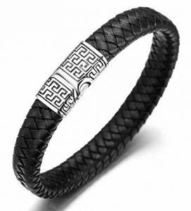 """Halukakah «SOLO» :Le Bracelet de l'homme en Cuir Véritable avec les Bouttons titané et Magnétique ,8.46 """"/ (21.5cm )avec le Boîte-cadeau Gratuit de la marque Halukakah image 0 produit"""