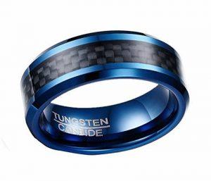 HIJONES Hommes 8MM Carbone Fibre Incruster Tungstène Carbure Bague Noir et Bleu de la marque HIJONES image 0 produit