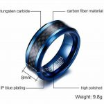 HIJONES Hommes 8MM Carbone Fibre Incruster Tungstène Carbure Bague Noir et Bleu de la marque HIJONES image 2 produit
