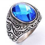 Homme Acier Inoxydable Bague Vintage Engagement Mariage Bague Anneaux Zircon Bleu Saphir Bague Bleu de la marque Epinki image 1 produit