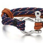 Homme Femme Acier Vis Manilles d'ancrage Nautique Marin - Brun Bracelet Cuir Envelopper Bracelet de la marque COOLSTEELANDBEYOND image 2 produit