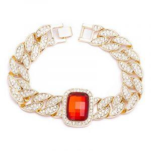 Hommes de New plaqué or pierre rouge Pendentif 16mm 21,6cm Cuban link chaîne bracelet de la marque Look Real Jewellery image 0 produit