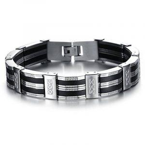 IBEGEM Bracelet tendance noir silicone homme en acier inoxydable argent circonférence 21cm- Cadeau Saint Valentin Anniversaire de la marque IBEGEM image 0 produit
