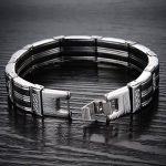 IBEGEM Bracelet tendance noir silicone homme en acier inoxydable argent circonférence 21cm- Cadeau Saint Valentin Anniversaire de la marque IBEGEM image 3 produit