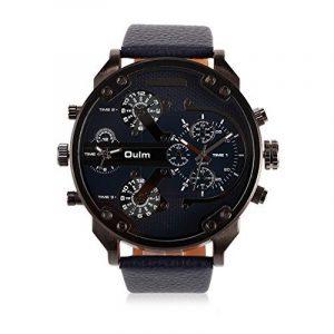 Ilove UE de mouvement à quartz japonais Bracelet Homme Analogique quatre 4Fuseaux Horaires Luxe Horloge avec cadran bleu foncé et Bracelet en Cuir de la marque iLove EU image 0 produit