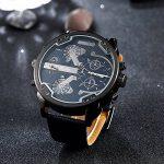 Ilove UE de mouvement à quartz japonais Bracelet Homme Analogique quatre 4Fuseaux Horaires Luxe Horloge avec cadran bleu foncé et Bracelet en Cuir de la marque iLove EU image 2 produit