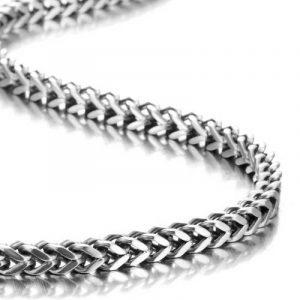 Impressionnant collier style mécano pour homme en acier inoxydable argenté chaîne à maillons (avec boîte cadeau de marque). de la marque Urban-Jewelry image 0 produit