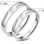 Infinite U Forme des Yeux Argent 925 Zircone Cubique Couples Réglable Taille de Bague 49 à 64 de la marque Infinite U image 1 produit