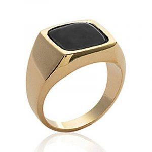 ISADY - Emilio Gold - Bague Mixte Homme Femme - Chevalière - Plaqué Or 750/000 (18 carats) - Onyx noir de la marque Isady image 0 produit