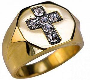 ISADY - Francisco - Bague Homme - Chevalière - Acier - Oxyde de zirconium transparent - Croix de la marque Isady image 0 produit
