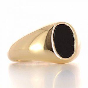 ISADY - Marlon Gold - Bague Mixte Homme Femme - Chevalière - Plaqué Or 750/000 (18 carats) - Onyx noir de la marque Isady image 0 produit