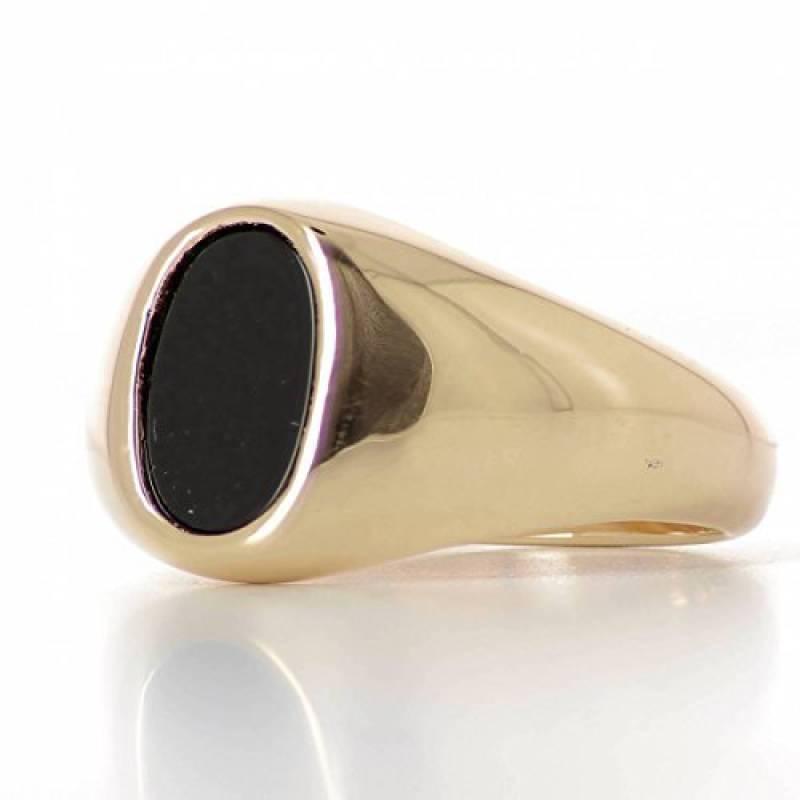 82b0b8300428b ISADY - Marlon Gold - Bague Mixte Homme Femme - Chevalière - Plaqué Or  750 000 (18 carats) - Onyx noir de la marque Isady