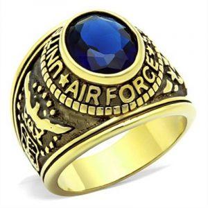 ISADY - US Air Force Gold Saphir - Bague Homme - Chevalière - Oxyde de zirconium bleu de la marque Isady image 0 produit