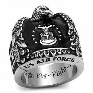 ISADY - US Air Force John - Bague Homme - Chevalière - Acier - Email Noir - «Aim High - Fly-Fight-Win» de la marque Isady image 0 produit
