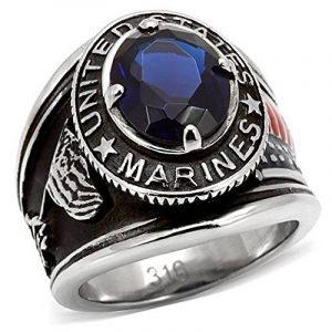 ISADY - US Marines Ryan - Bague Homme - Chevalière - Acier - Oxyde de zirconium bleu de la marque Isady image 0 produit