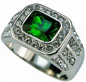 ISADY - Vincent - Bague Homme - Chevalière - Acier - Oxyde de zirconium transparent et vert de la marque Isady image 0 produit