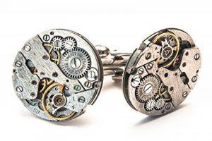 Jeff Jeffers Handmade Boutons de manchette ronds en forme de mécanisme de montre Style Steampunk Pour homme / mariage Argenté 20 mm de la marque Jeff Jeffers Customs image 0 produit