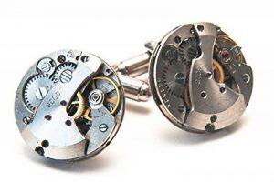 Jeff Jeffers Handmade Boutons de manchette ronds en forme de mécanisme de montre Style vintage Pour homme/mariage Argenté 21 mm de la marque Jeff Jeffers Handmade image 0 produit