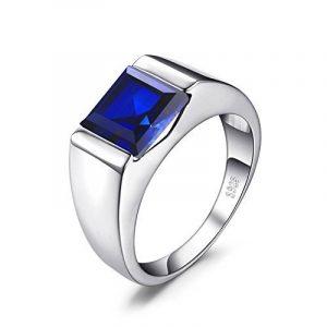 JewelryPalace 3.33ct Bijoux Luxe Bague Homme Anneau Bleu en Argent Sterling 925 en Saphir de Synthèse pour Fiançailles Alliance Mariage Anniversaire Taille 64.5 de la marque Jewelrypalace image 0 produit