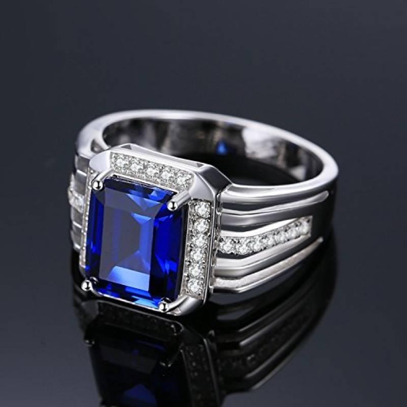 JewelryPalace 3ct Bijoux Luxe Classique Bague Homme Anneau Bleu en Argent  Sterling 925 en Saphir de Synthèse pour Fiançailles Alliance Mariage  Anniversaire
