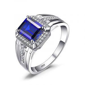JewelryPalace 3ct Bijoux Luxe Classique Bague Homme Anneau Bleu en Argent Sterling 925 en Saphir de Synthèse pour Fiançailles Alliance Mariage Anniversaire de la marque Jewelrypalace image 0 produit