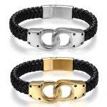 JewelryWe Bijoux Bracelet Homme Punk Rock Menotte Fermoir Magnétique Cuir Acier Inoxydable Fantaisie de la marque JewelryWe image 3 produit